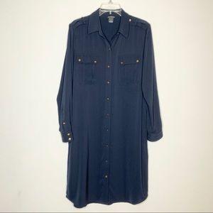 Club Monaco Silk Shirt Dress in Navy Size 10